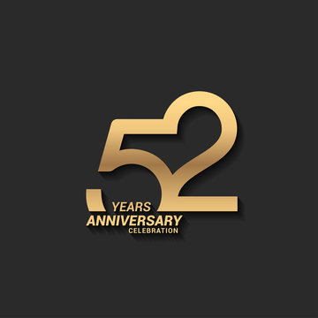 52 years anniversary celebration logotype with elegant modern number gold color for celebration