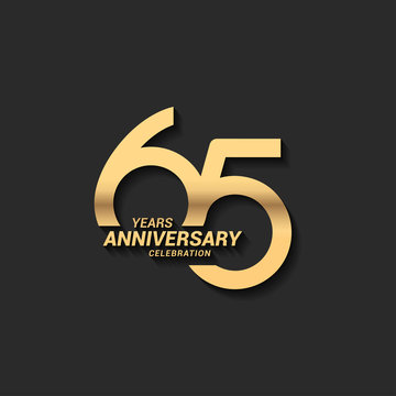 65 years anniversary celebration logotype with elegant modern number gold color for celebration