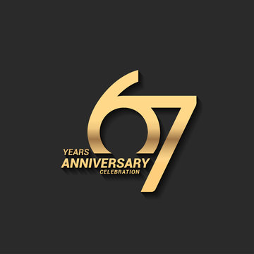 67 years anniversary celebration logotype with elegant modern number gold color for celebration