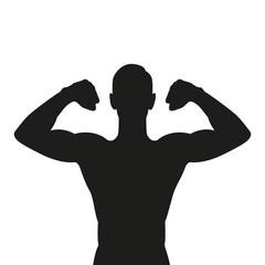 Fototapeta muscular strong man silhouette isolated on white background vector illustration EPS10 obraz