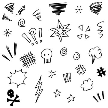 Hand drawn set elements, for concept design. doodle Swearing isolated on white background . vector illustration.