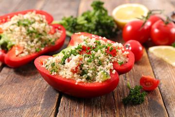 Fotobehang - stuffed bell pepper with tabbouleh