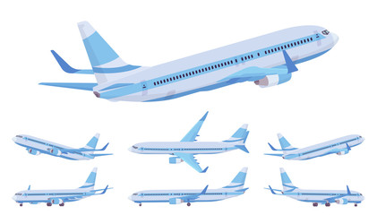 Passenger plane blue stripe set, airline aircraft for passengers. Airport business vehicle sky travel jet and holiday aviation tourism. Vector flat style cartoon illustration, different views