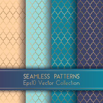 Turkish or Moroccan Quatrefoil Seamless Patterns Set. Traditional mosque pattern with gold grid mosaic. Arabic ethnic motifs, grid design of lantern shape tiles.