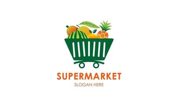 Supermarket fruit logo template design vector