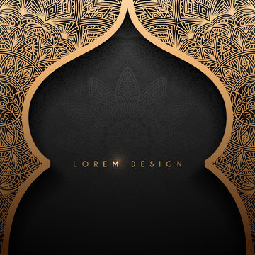 Gold arch with arabic pattern background