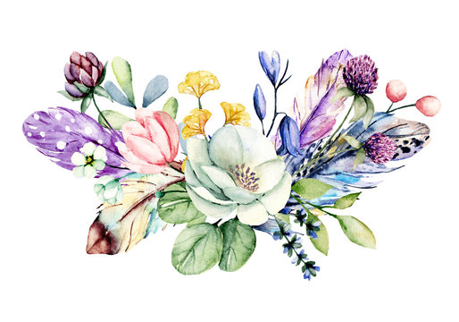 Flowers watercolor painting, wildflowers and leaf arrangement clip art for greeting card, invitation, poster, wedding decoration and other printing images. Illustration isolated on white.