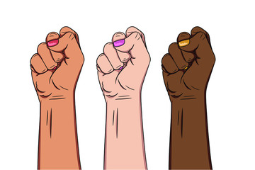 raised female fist hand. Girl Power. People protest and fight for their rights. Concept of revolution or protest. symbol of victory, strength, power and solidarity. Isolated vector illustartion.