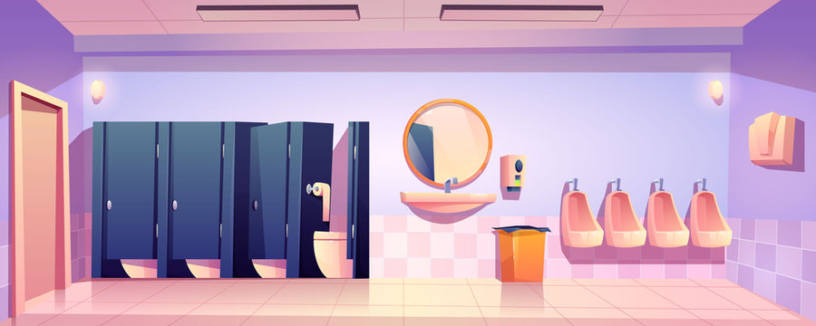 Public toilet for men, empty wc restroom interior with closed and open cubicles, urinals, washbasin with mirror and liquid soap, litter bin on tiled floor and hand dryer, Cartoon vector illustration