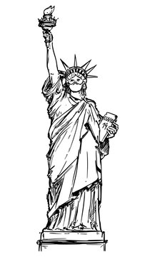 Vector Drawing Illustration of the Statue of Liberty Wearing face mask protection due the coronavirus COVID-19 epidemic outbreak in the New York City, United States.