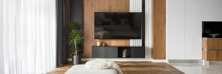 Obraz Living room with tv, panorama - fototapety do salonu