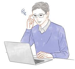 パソコンの操作に悩む男性