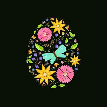 easter egg floral decoration black