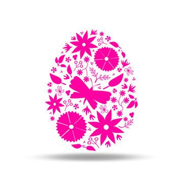 easter egg floral decoration pink