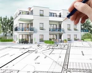 Concept dessin 3D d'un petit immeuble résidence moderne avec balcon et jardin