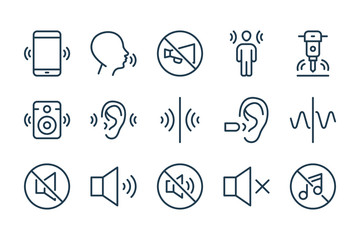 Noise and Sound pollution line icons. Loud sound and Echo vector linear icon set. Fotobehang