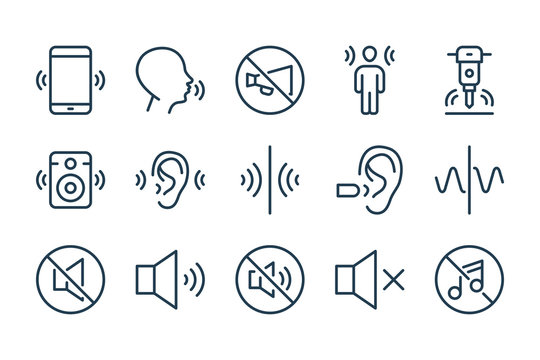 Noise and Sound pollution line icons. Loud sound and Echo vector linear icon set.