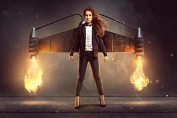 Geschäftsfrau mit Jetpack