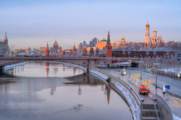 Wall Mural - Sunrise view of Moscow Kremlin, embankment of Moscow River in Moscow, Russia. Architecture and landmark of Moscow