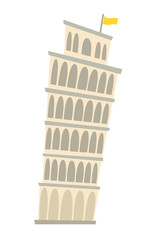 Fototapete - Pisa Tower, Italy architecture landmark vector illustration. Pisa, old building. Ancient architectural monuments. Famous historical landmark. Hand drawn isolated icon on white background