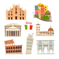 Fototapete - Italy landmarks vector icons set. Illustrated travel collection. Italian Sardinia island cartoon style. Milan Cathedral and Pisa Tower. Coliseum, Rome drawn art sign. Isolated on white background