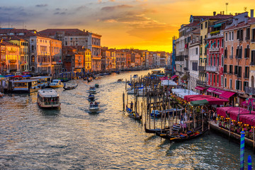 Fototapete - Grand Canal with gondolas in Venice, Italy. Sunset view of Venice Grand Canal. Architecture and landmarks of Venice. Venice postcard