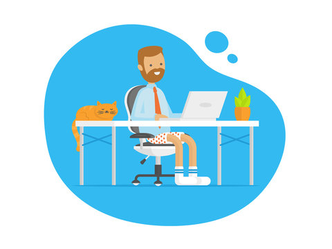 Young man working in underpants/shorts from home vector flat illustration
