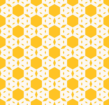 Yellow geometric seamless pattern. Vector abstract texture with hexagons, small rhombuses, floral figures. Background in bright colors. Positive summer design for decoration, textile, fabric, cloth