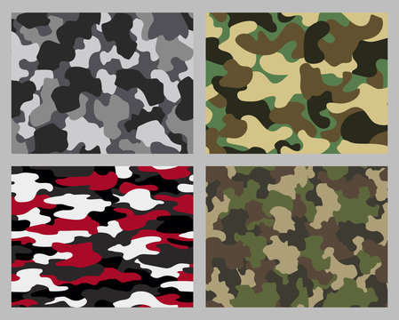 Set of camouflage seamless patterns. Abstract military or hunting camouflage backgrounds. Classic clothing style masking camo repeat print. Green brown black olive colors forest texture camouflage