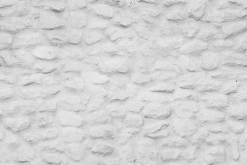 Fototapete - Old white painted stone wall front view, seamless