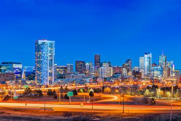 Fototapete - Denver, Colorado, USA Skyline