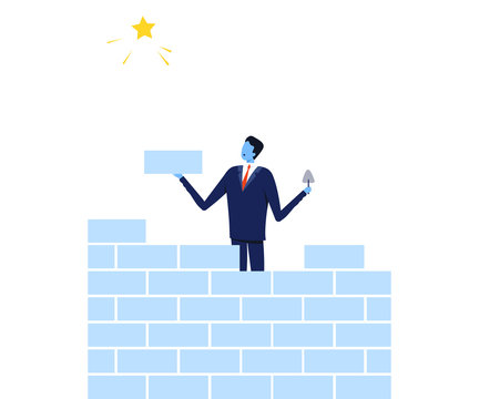 Successful Businessman Building Brick Wall Trying to Reach the Star, Path to Success, Leadership Vector Illustration