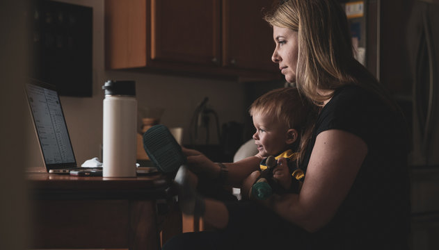 Working from home mom with a child