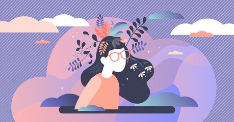 Mental health vector illustration. Psychological mind tiny persons concept.