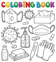 Photo sur Aluminium Enfants Coloring book virus prevention set 1