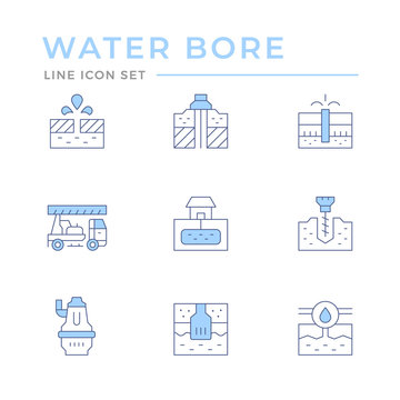 Set color line icons of water bore