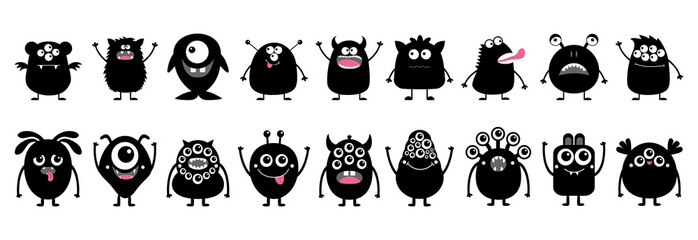 Happy Halloween. Monster icon set line. Cute kawaii cartoon scary funny character. Black silhouette shape. Funny baby collection. Scandinavian style. Isolated. White background Flat design. Papier Peint