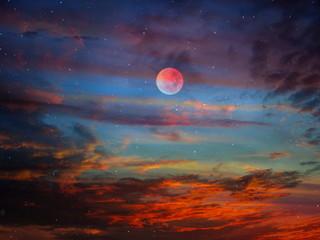full moon Starry night  moon on blue  sky at sea, rainbow sunset at  summer season , sea dark blue...