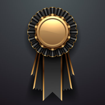 Gold and black award with ribbons
