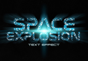 Blue Crackle Text Effect in Space Mockup