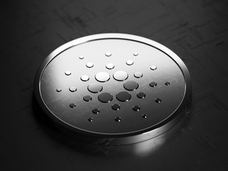 Cardano metallic coin - open source cryptocurrency blockchain and distributed ledger technology project - 3D render