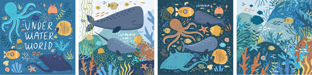 Underwater world! Set posters ocean or sea with various fish, octopus, crab, submarine, stingray, whale, narwhal, sea shells, starfish, seaweed, water plant. Vector illustration banner, card, postcard Fotobehang