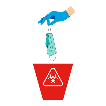 The hand wear glove and holding a mask is above the red bin, with the symbol of infectious waste. How to discard the surgical mask correctly. Flat design vector.