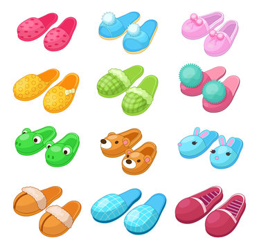 Home footwear - pairs slippers, textile domestic outfit element or garment shoes soft fabric. Comfortable kids and adult footwear with animal head, flip flops, shoes. Vector illustration.