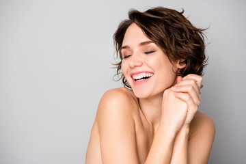 Portrait of cheerful lovely pretty girl enjoy her skin care palstic sugery aesthetic procedure make her body soft fresh isolated over gray color background Fotomurales