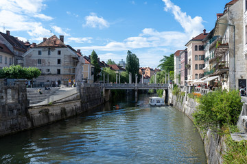 Ljubljana River in the largest city of Slovenia and a lot of historical building in the city center. June 2019 Wall mural