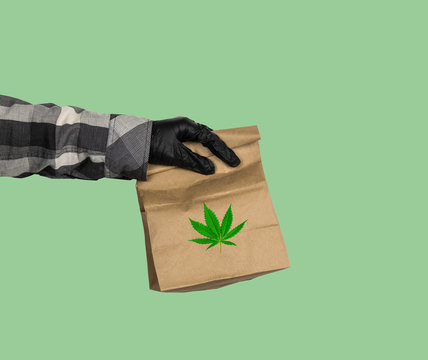 marijuana delivery concept, hand of courier in black gloves with package with cannabis leaf on a green background
