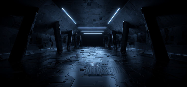 Schematic Texture Realistic Sci Fi modern Elegant Blue Glow Futuristic Corridor Tunnel Hallway Parking Dark Night Reflective Metal Realistic Background Empty Stage Podium Catwalk 3D Rendering