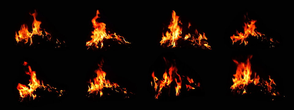 The set of 8 thermal energy flames image set on a black background.