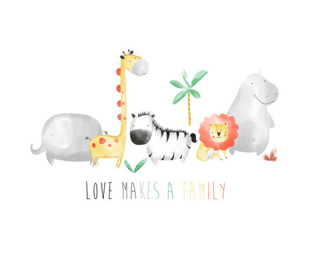 Sweet animals family drawing vector  illustration.